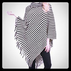 NWT Black Striped Cowl Neck Poncho